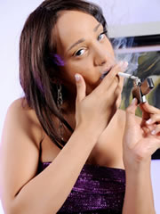 shemale babe Sunshyne Monroe with a cigarette